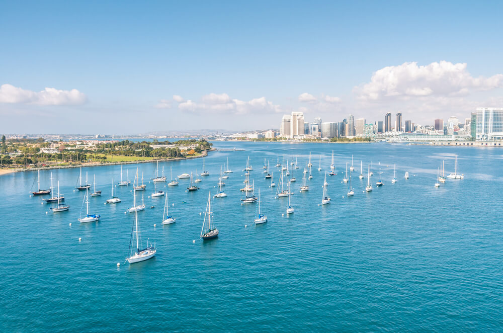 San Diego skyline and Waterfront and sailing Boats